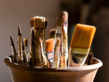 Closeup of brushes for painting. Close-up of brushes for painting Stock Image