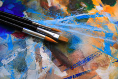 Closeup of brushes and palette Royalty Free Stock Image