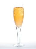 Closeup of the bubbles in a glass of champagne Stock Photography