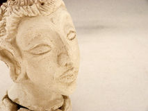 Closeup of Buddha head censer made in white mud 1. A Royalty Free Stock Photos