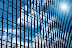 Closeup building glass of skyscrapers with cloud, Business conc. Ept of architecture stock photo