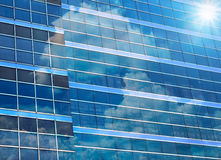 Closeup  building glass of skyscrapers with cloud Royalty Free Stock Image