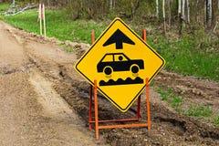 Closeup of a bumpy road ahead sign.  Stock Image