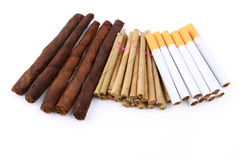 Closeup of Bunch of cigarettes tobacco Stock Photography