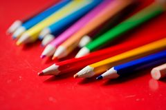 Closeup of a bunch pencils royalty free stock photo