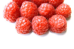 Closeup of a bunch of red raspberries Stock Photos