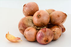 Closeup of a bundle of brown onions Stock Images