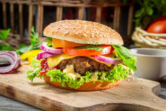 Closeup of burger made ​​from vegetables and beaf Stock Image