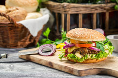 Closeup of burger made ​​from beaf and fresh vegetables Stock Photography