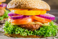 Closeup of burger made from vegetables Royalty Free Stock Image