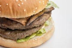 Closeup of burger on white Stock Photo