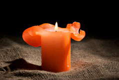 Closeup of a burning candle Stock Photography