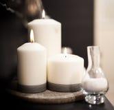 Closeup of burning candles Stock Photos