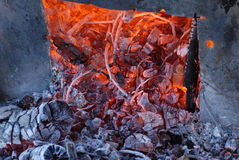 Closeup of burning coals Royalty Free Stock Photography