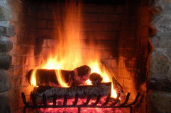 Closeup of burning fire place Stock Photography