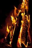 Closeup of burning firewood Royalty Free Stock Image