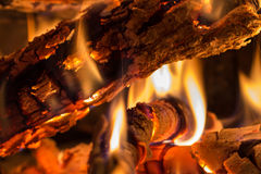 Closeup of burning wood Stock Photo
