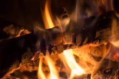 Closeup of burning wood Stock Photos