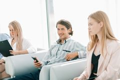 Closeup.business colleagues in a work break. office life royalty free stock image
