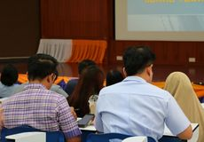 Closeup business education seminar training conference in meeting room.  royalty free stock photos