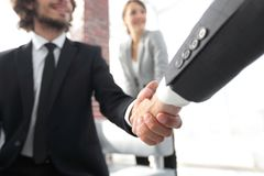 Closeup of a business hand shake Stock Photography