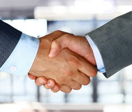 Closeup of a business hand shake stock photo