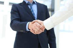 Closeup of a business hand shake Stock Photo