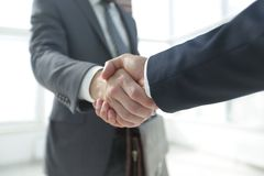 Closeup of Business Leader Shaking Partner Hand. Photo with copy space Royalty Free Stock Images