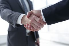 Closeup of Business Leader Shaking Partner Hand. Photo with copy space Stock Photography