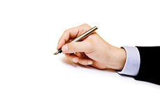Closeup of a business man making a note Royalty Free Stock Photo