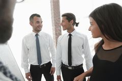Closeup of business team communicates, Stock Photos