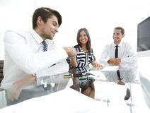 Closeup. business team holds a workshop Stock Photo