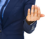 Closeup on business woman beckoning with hand. High-resolution photo royalty free stock images