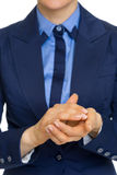 Closeup on business woman clapping Stock Photography