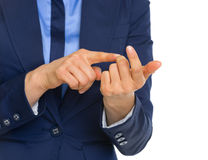 Closeup on business woman counting on fingers Royalty Free Stock Photo