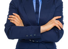 Closeup on business woman with crossed arms Stock Photography