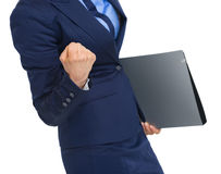 Closeup on business woman with folder rejoicing success Stock Image
