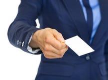 Closeup on business woman giving business card Stock Photos