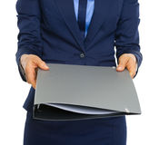 Closeup on business woman giving documents Royalty Free Stock Photos