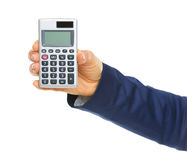 Closeup on business woman hand showing calculator Royalty Free Stock Photography