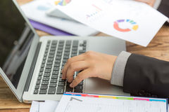 Closeup of business woman hand typing Stock Images
