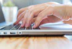 Closeup of business woman hand typing Stock Photography