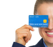 Closeup on business woman holding credit card Stock Image