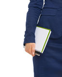 Closeup on business woman holding open notepad Royalty Free Stock Photos