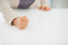 Closeup on business woman knocking on table Stock Photos