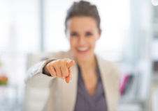 Closeup on business woman pointing in camera Stock Image