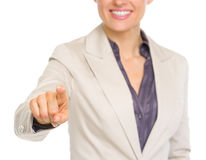 Closeup on business woman pointing in camera Stock Photo