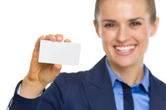 Closeup on business woman showing business card Royalty Free Stock Photo
