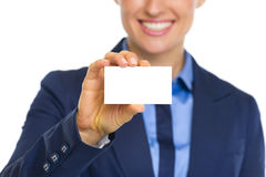 Closeup on business woman showing business card Royalty Free Stock Image