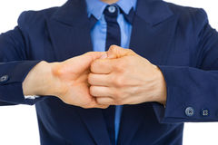 Closeup on business woman showing connection gesture Royalty Free Stock Photos